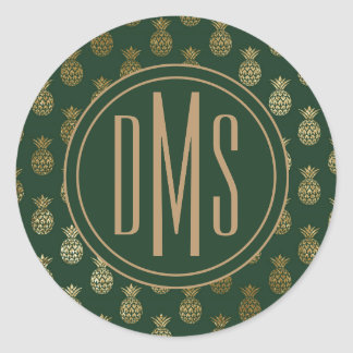 Monogram | Pineapple Gold Green Classic Round Sticker