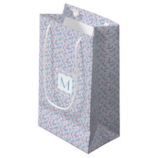Monogram Pink and Blue Squares Small Gift Bag