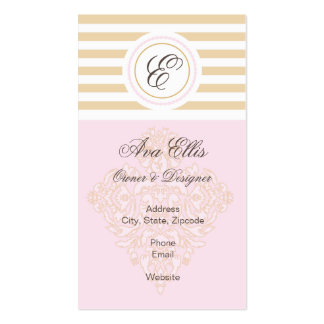 Monogram Pink and Gold Business Card