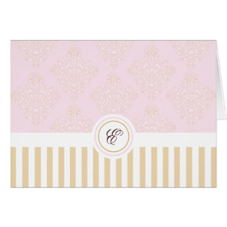 Monogram Pink and Gold Damask Note Card