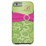 Monogram Pink and Green Damask iPhone 6 case Vibe