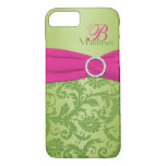Monogram Pink and Green Damask iPhone 7 Case