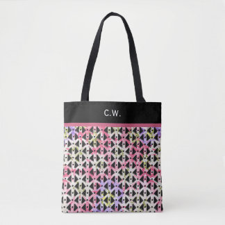 Monogram pink and mauve diagonal aztec weave tote bag