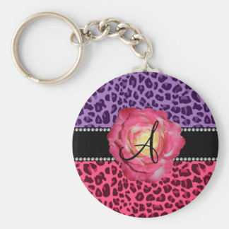 Monogram pink and purple leopard pattern pink rose key chain