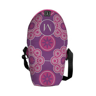 Monogram Pink and Purple Modern Floral Pattern Courier Bags