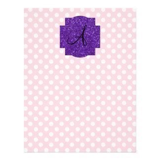 Monogram pink and white polka dots 21.5 cm x 28 cm flyer