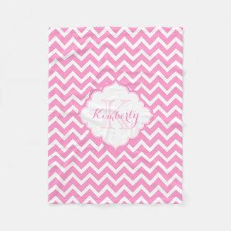 Monogram Pink And White Zigzag Chevron Fleece Blanket
