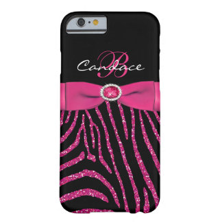 Monogram Pink, Black Glitter Zebra iPhone 6 case Barely There iPhone 6 Case