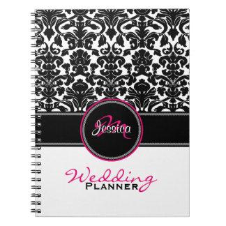 Monogram Pink Black White Damask Wedding Planner Note Book
