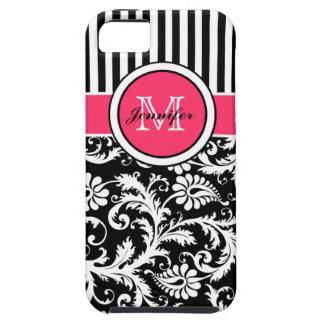 Monogram Pink Black White Striped Damask iPhone 5 Tough iPhone 5 Case