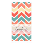 Monogram Pink Blue Geo Abstract Chevron Pattern Personalised Photo Card