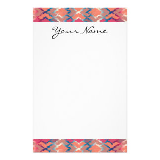 Monogram Pink Blue Gradient Ikat Diamond Pattern Personalized Stationery
