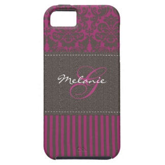 Monogram Pink Brown Damask Stripe iPhone 5 Case