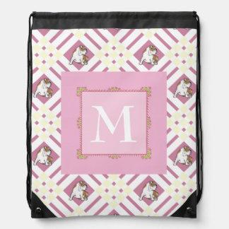 Monogram Pink Bulldog Drawstring Bag