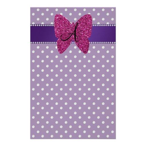 Monogram pink butterfly purple diamonds custom stationery