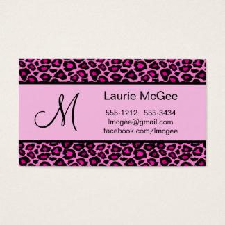 Monogram Pink Cheetah / Leopard (#BUS 023) Business Card