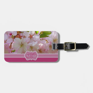 Monogram Pink Cherry Blossoms with Green Leaves Luggage Tag