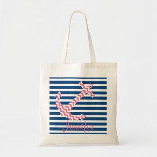 Monogram Pink Chevron Anchor Custom Tote Bag