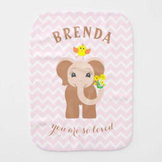 Monogram Pink Chevron Baby Elephant Burp Cloth