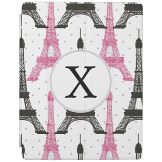 Monogram Pink Chic Eiffel Tower Pattern iPad Cover
