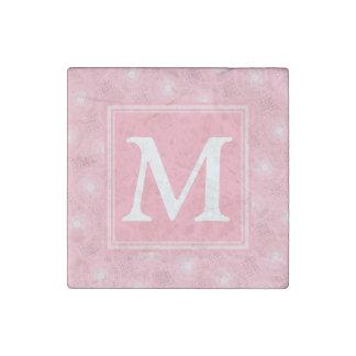 Monogram pink circles pattern stone magnet