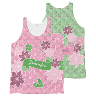 Monogram Pink Clematis Green Banner Japan Kimono All-Over Print Singlet