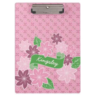 Monogram Pink Clematis Green Banner Japan Kimono Clipboard
