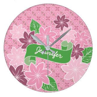 Monogram Pink Clematis Green Banner Japan Kimono Clock