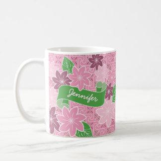 Monogram Pink Clematis Green Banner Japan Kimono Coffee Mug