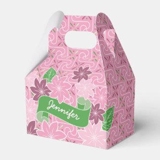 Monogram Pink Clematis Green Banner Japan Kimono Favour Box