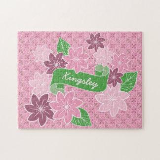 Monogram Pink Clematis Green Banner Japan Kimono Jigsaw Puzzle