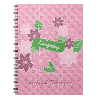Monogram Pink Clematis Green Banner Japan Kimono Notebooks