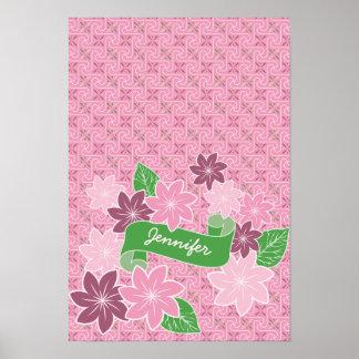 Monogram Pink Clematis Green Banner Japan Kimono Poster