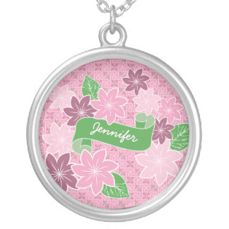 Monogram Pink Clematis Green Banner Japan Kimono Silver Plated Necklace