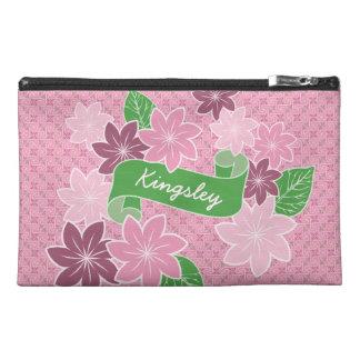 Monogram Pink Clematis Green Banner Japan Kimono Travel Accessory Bag