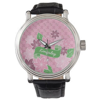 Monogram Pink Clematis Green Banner Japan Kimono Watch