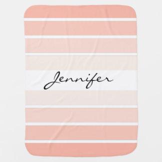 Monogram Pink Coral Pastel Stripes Baby Blanket