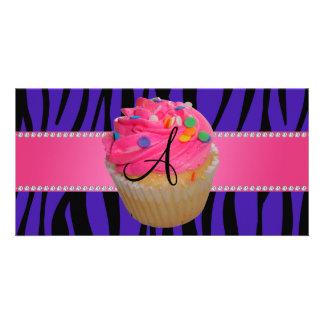 Monogram pink cupcake purple zebra stripes picture card