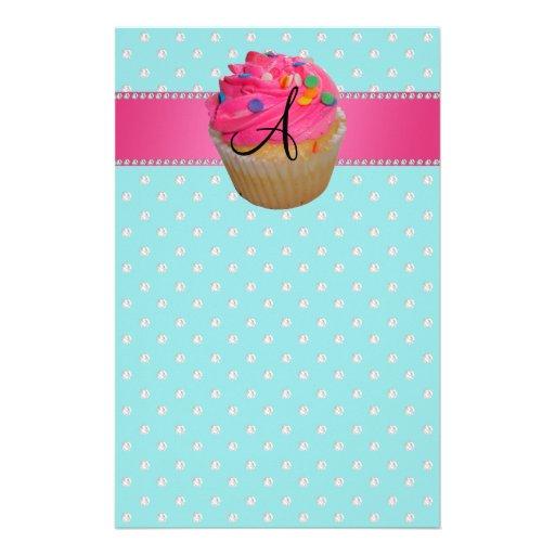 Monogram pink cupcake turquoise diamonds stationery design