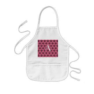 Monogram pink damask apron