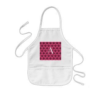 Monogram pink damask aprons