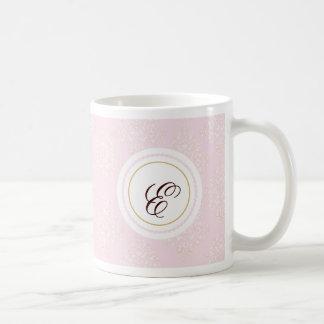 Monogram Pink Damask Coffee Mug