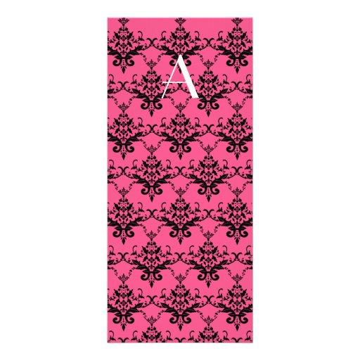 Monogram pink damask full color rack card