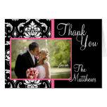 Monogram Pink Damask Wedding Photo Thank You #2