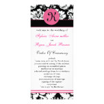 monogram pink damask Wedding program Personalized Rack Card