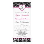monogram pink damask Wedding program Rack Card Template