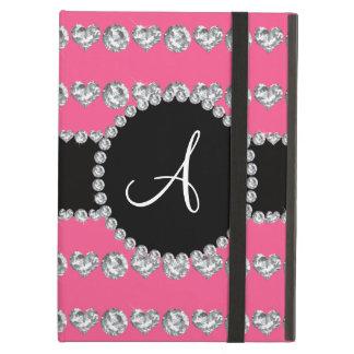 Monogram pink diamond hearts stripes iPad air cases
