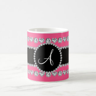 Monogram pink diamond hearts stripes mugs