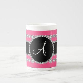 Monogram pink diamond hearts stripes porcelain mugs
