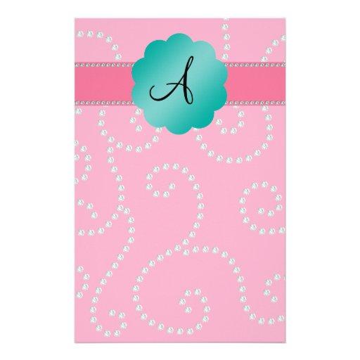 Monogram pink diamond swirls personalized stationery